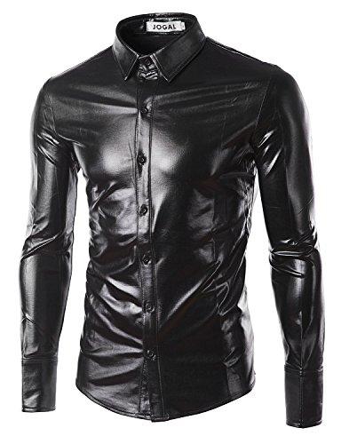 JOGAL Mens Trend Nightclub Styles Metallic Silver Button Down Shirts XX-Large Black (Black On Black Suit)