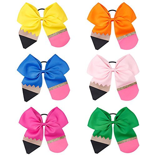 6Pcs Girl Pencil Cheerleader Hair Bow 7