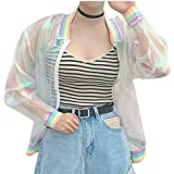 Yuehen Summer Women New colorful European Root Stitching Female Rainbow Collar Wild