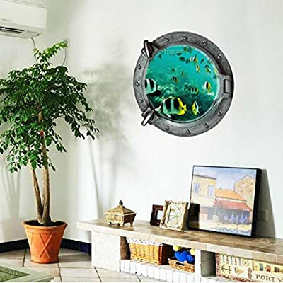 Iuhan® Fashion Fantastic Submarine Portholes Fish Wall Sticker Home Decor
