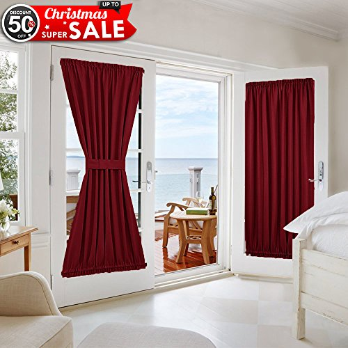 NICETOWN Sliding Door Curtain and Drape - Functional Thermal Insulated Blackout Curtain Panel for French Door (One Panel, 54W by 72L Inches, Burgundy) - Custom Home Theater Furniture
