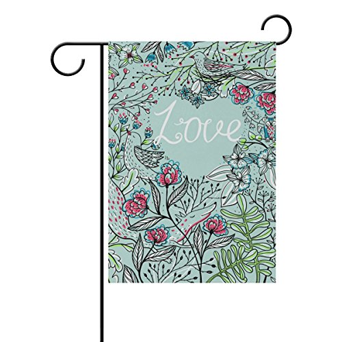 ALAZA Double Sided Spring Flower Floral Bird and Love Polyester Garden Flag Banner 12 x 18 Inch for Outdoor Home Garden Flower Pot Decor