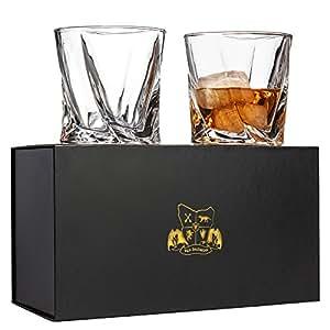 Van Daemon - 'Tasman Twist' Whiskey Glasses - Lead Free Crystal. Set of 2 Tumblers for Liquor. Perfect as a Gift.