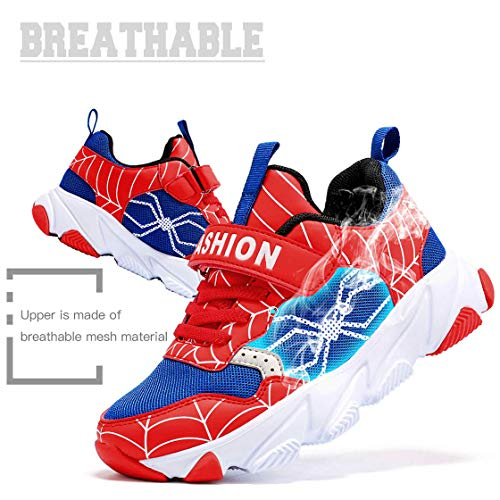 Daclay Kids Breathable Sports Shoes Boys and Girls Sneakers Casual Soft Soled Basketball Running Shoes 6 Big Kid, Black//Red