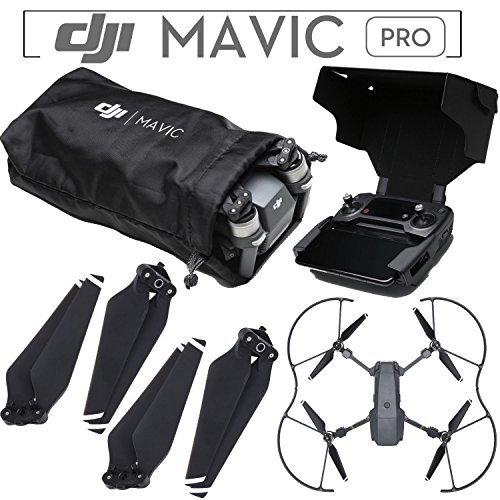 DJI Mavic Pro Accessory Kit - Includes DJI Soft Aircraft Sleeve + 2 Sets of DJI 8330 Quick Release 8330 Folding Propellers + DJI Propeller Guards + DJI Remote Hood ()