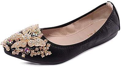 Otamise Womens Foldable Flats Rhinestone Sparkly Wedding Shoes Comfort Slip On Pointed Toe Ballet Flat Shoe