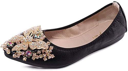 Otamise Womens Wedding Flats Rhinestone Slip On Foldable Ballet Shoes