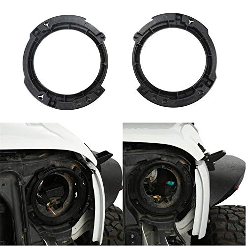 kkone Black Left & Right Headlight Brackets Mount Buckets for 2007-2017 Jeep Wrangler JK