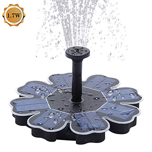 Richarm Solar Fountain Pump 1.7W Solar Powered Submersible Pond Pump Outdoor Water Feature for Bird Bath,Garden Fountain,Small Pond and Water Circulation, 4 Spray Heads Included