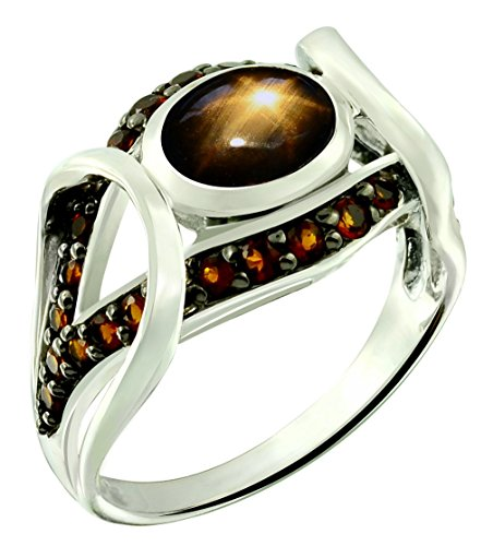 2.44 Carats Black Star Sapphire with Madeira Citrine Rhodium-plated Sterling Silver Ring (8)