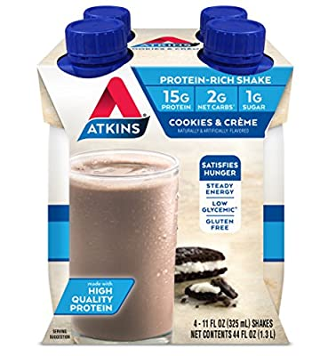 Atkins Ready to Drink Protein-Rich Shake, Cookies & Crème, 4 Count