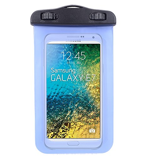 Universal Protective Waterproof Bag / Pouch / Cover / Case for Samsung Galaxy E7 / S6 / Edge / J7/ J5/ Grand Prime / Alpha / Avant / Core with Responsive Screen Protector Windows and Strap Fit up to 5.5 Inch Ios Windows Android Smart Phone + SumacLife Wis by SumacLife