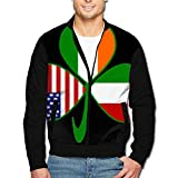 988Iron Italian Irish American Shamrock Men's Casual Sport Zip Outerwear Jacket