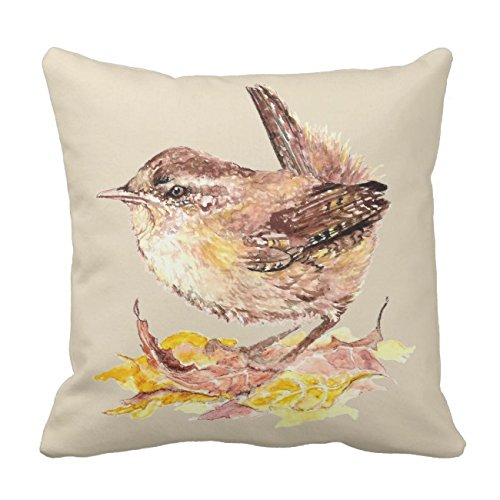 UOOPOO Original Watercolor Bird Cute House Wren Cotton Canvas Pillow Case 18 x 18 Inches Square Happy New Year Cushion Cover for Sofa Print One Side -