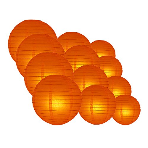 Quasimoon EVP-BO-CP12 12pcs Pack (12/10/8 Inch) Paper Lanterns Even Ribbing, Persimmon Orange, 12 Piece Set