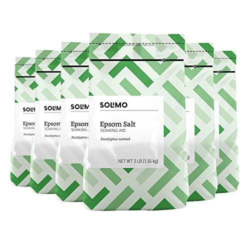 Amazon Brand - Solimo Epsom Salt Soaking Aid, Eucalyptus Scented, 3 Pound (Pack of 6)