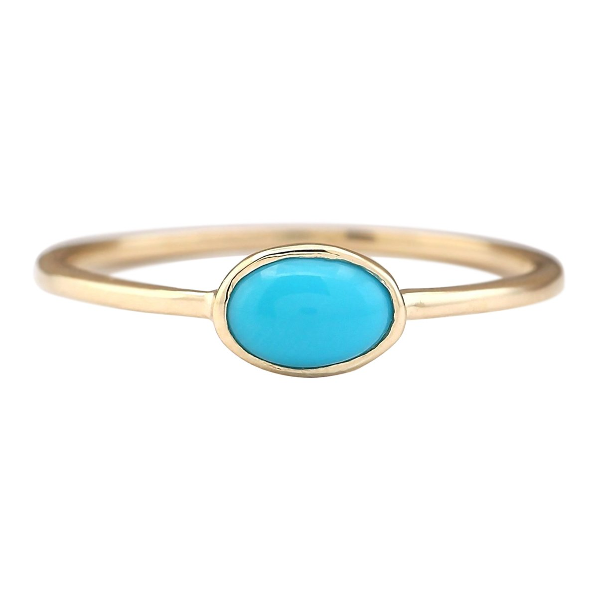 1 Carat Natural Blue Turquoise 14K Yellow Gold Solitaire Promise Ring for Women