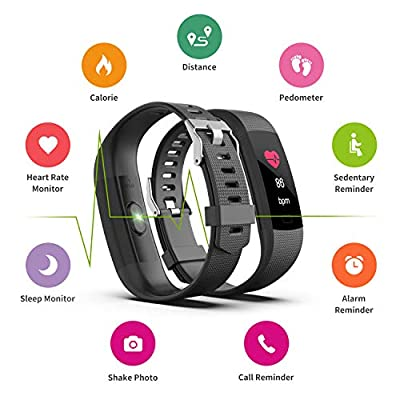 Fitness Tracker HR, Y1 Activity Tracker Watch with Heart Rate Monitor, Pedometer IP67 Waterproof Sleep Monitor Step Counter for Android & iPhone by Akuti