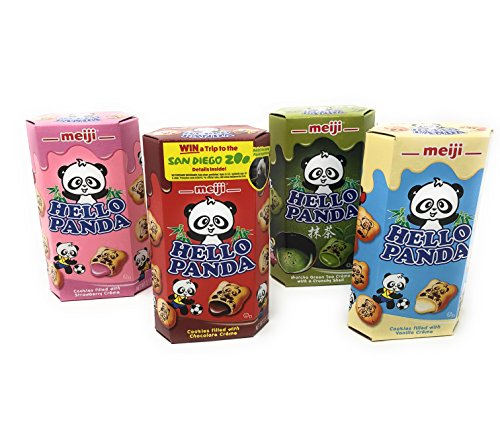 Meiji Hello Panda Chocolate, Strawberry, Vanilla, Matcha Biscuit 2 Ounce Boxes (Pack of 10) - Fusion Select