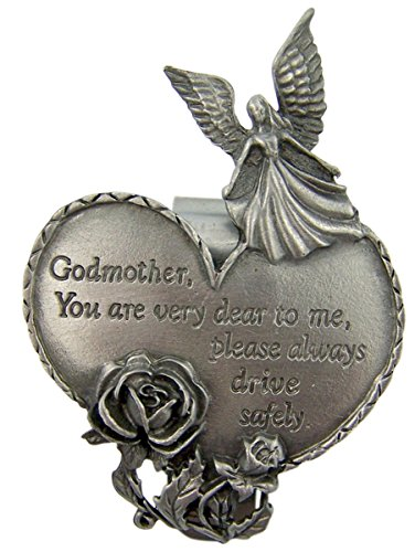 Godmother Heart (Fine Pewter Guardian Angel Godmother Heart Auto Visor Clip, 2 3/4 Inch)