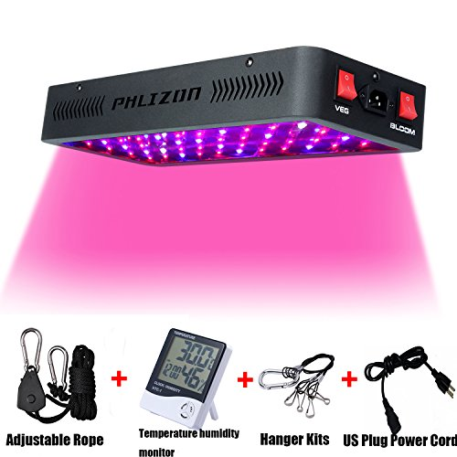 Phlizon Newest Winter 600W LED Plant Grow Light,with Thermometer Humidity Monitor,with Adjustable Rope,Full Spectrum Double Switch Plant Light for Indoor Plants Veg and Flower- 600W(10W Leds 60Pcs) Led Flower Light