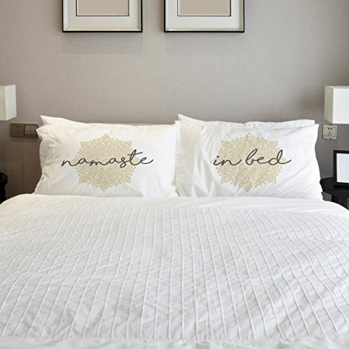 One Bella Casa 82675CSE Namaste in Bed Mandala Pillow Case - Tan44; Set of 2 from One Bella Casa