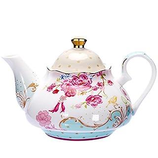Tea Pot Bone China Floral Design Vintage Teapot Loose Tea Women and Tea lovers 850 ml about 4 Cups Gift Box