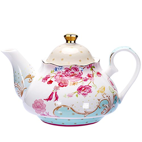 AWHOME Tea Pot Bone China Floral Design Vintage 850 ml about 4 Cups Gift ()