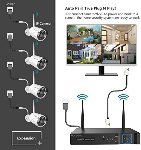 Wireless Security Camera System, NexTrend 8 Channel 1080P Home Video Surveillance System, 4 960P 1.3 MP Waterproof Security Cameras, 1TB Hard Drive, Plug Play Indoor Outdoor Security Camera System