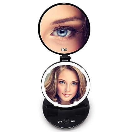 a888717ae FASCINATE Portátil Viaje Espejo de Maquillaje Espejo Plegable 1X/10X LED  Espejo de Bolsillo Compacto