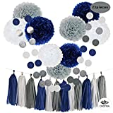 Arts & Crafts : CHOTIKA 23pcs Tissue Paper Flowers Pom Poms Party Girl Decorations Tassel Garland for Wedding Bridal Shower graduation bachelorette celebrate first birthday graduate supplies (Navy Blue, White, Grey)