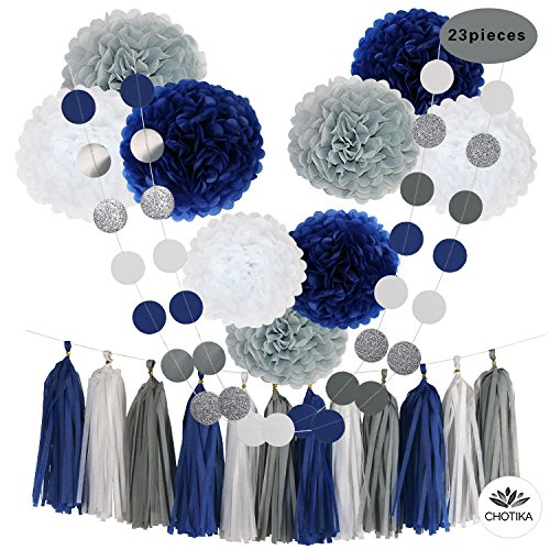 CHOTIKA 23pcs Tissue Paper Flowers Pom Poms Party Girl Decorations Tassel Garland for Wedding Bridal Shower graduation bachelorette celebrate first birthday graduate supplies (Navy Blue, White, (Blue And White Party Decorations)