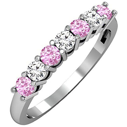 - Dazzlingrock Collection 14K Round Pink Sapphire & White Diamond Ladies 7 Stone Wedding Band Ring, White Gold, Size 10