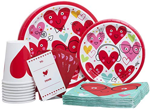 I Heart Face You (Valentine's Day) Pack! Disposable Paper Plates, Napkins, Cups and Invitation Card With Stickers Set for 15 (With free extras)