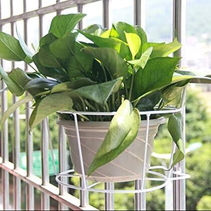 Kofun Hangende Betriebs Eisen Gestell Balkon Runder Blumentopf Gestell Gelander Zaun Weiss Im Freien Amazon De Kuche Haushalt