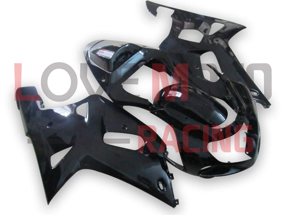 LoveMoto ブルー/イエローフェアリング スズキ suzuki GSX-R600 GSX-R750 2001 2002 2003 01 02 03 ABS射出成型プラスチックオートバイフェアリングセットのキット ブラック   B07KF7NRYF