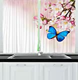 Kitchen Decor Collection, Blue Butterfly on Spring Cherry Blossoms Japanese Flowers White Pink Orchard Nature, Printed 2 Panels Blackout Window Curtain, W72 x L45 Inches/Pair Blue Pastel Pink