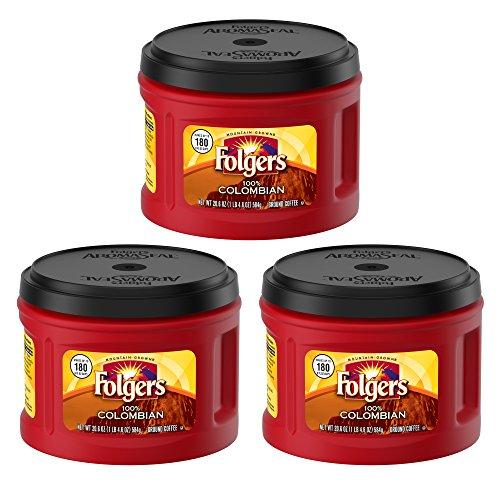 Folgers 100% Colombian, Medium-Dark Roast Ground Coffee, 24.2 Ounce (3 Pack)