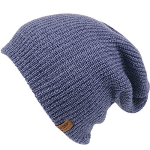 Men's Basic Reversible Slouch Beanie- Long Hipster Oversized Ribbed Knit Winter Skull Hat (Denim Blue) (Hat Knit Reversible Winter)