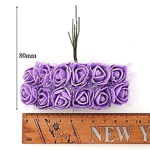 Artificial Flowers Rose Bouquet Fake Flowers Wedding Decoration DIY Decorative Wreath Party 2cm 144pc 2
