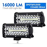 7Inch Led Pods Spot Flood Combo Beam Liteway 16000 LM Triple Row Light Bar Off Road Driving Led Work Lights for UTV ATV Jeep Truck Boat Waterproof 2 Pack