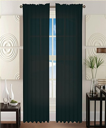 2 Piece Solid Black Sheer Window Curtains/drape/panels/treatment 54″w X 84″