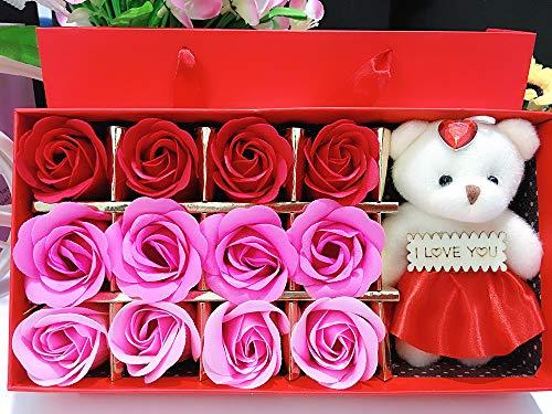 (PZ Creative Artificial Handmade Rose Bouquet Soap Flower Luxury Gift Box, Floral Scented Bath Soap Rose Flower Plant Essential Oil Rose Soap Petals (Red-12pcs))