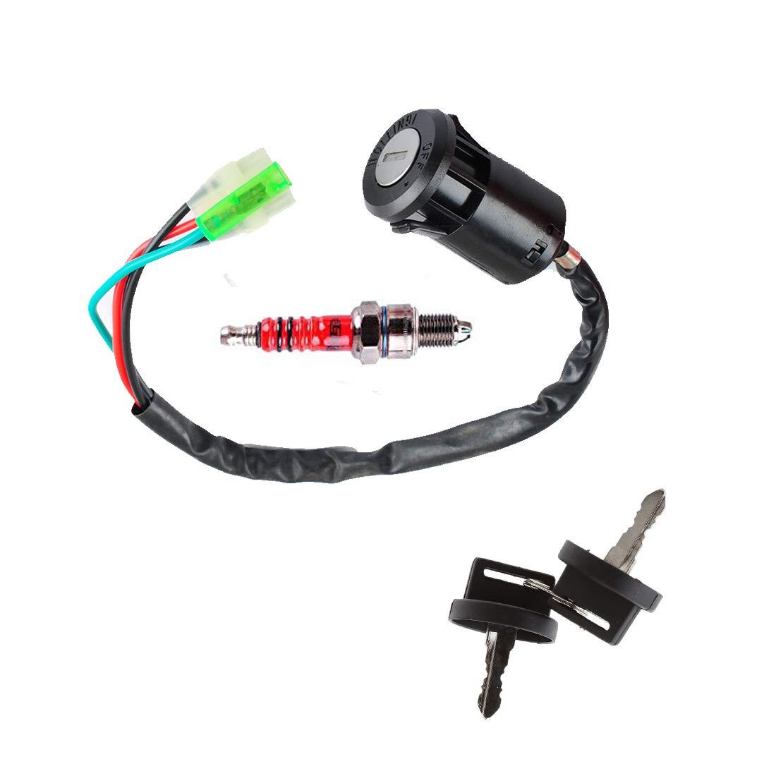 Swess TRX 400EX ATV Ignition Key Switch with Spark Plug Set for Honda 1999-2004 ATV
