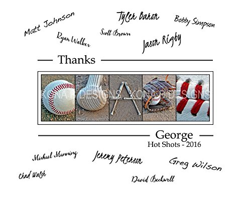 Baseball Coach's Gift with player's signatures - Gift for Baseball Coach - 11x14 with border for signatures