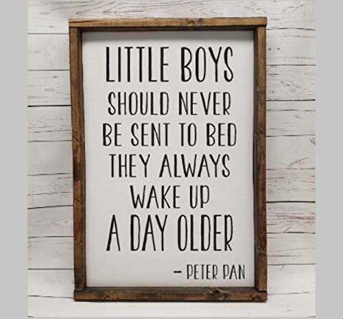 Little boys should never be sent to bed, they always wake up a day older. Peter Pan Sign, Hand painted Decor, Choice of sizes, Farmhouse sign, fixer upper style,