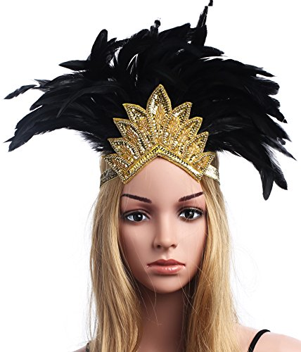 BABEYOND Women's Black Feather Headband Indian Crystal Headpiece Fascinator Carnival Headpiece Pageant Headband (Gold Crystal)
