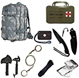 Ultimate Arms Gear Level 3 Assault MOLLE ACU Army Terrain Digital Camo Camouflage Backpack Kit; Signal Mirror, Polarshield Blanket, Knife Fire Starter, Wire Saw, Axe, 50' Foot Paracord & First Aid Kit