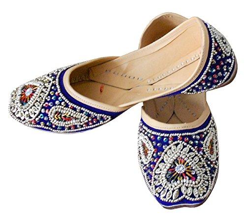 Bleu Fait Pour Femme En Kalra Velours Indien Traditionnel Chaussures Main Cuir De Creations Mariage 8x8PAOS