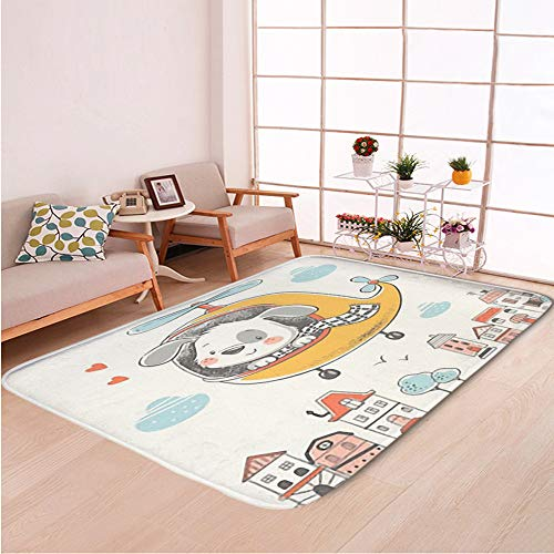 Home Decor Bathroom WC Rug Living Room Carpets Door Mat Indoor Rugs,Cute Puppy on Helicopter Cartoon,Bedroom Floor Mats